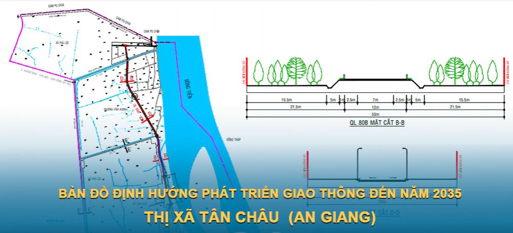 Bản đồ định hướng phát triển giao thông Tân Châu (An Giang) giai đoạn năm 2021 – 2025
