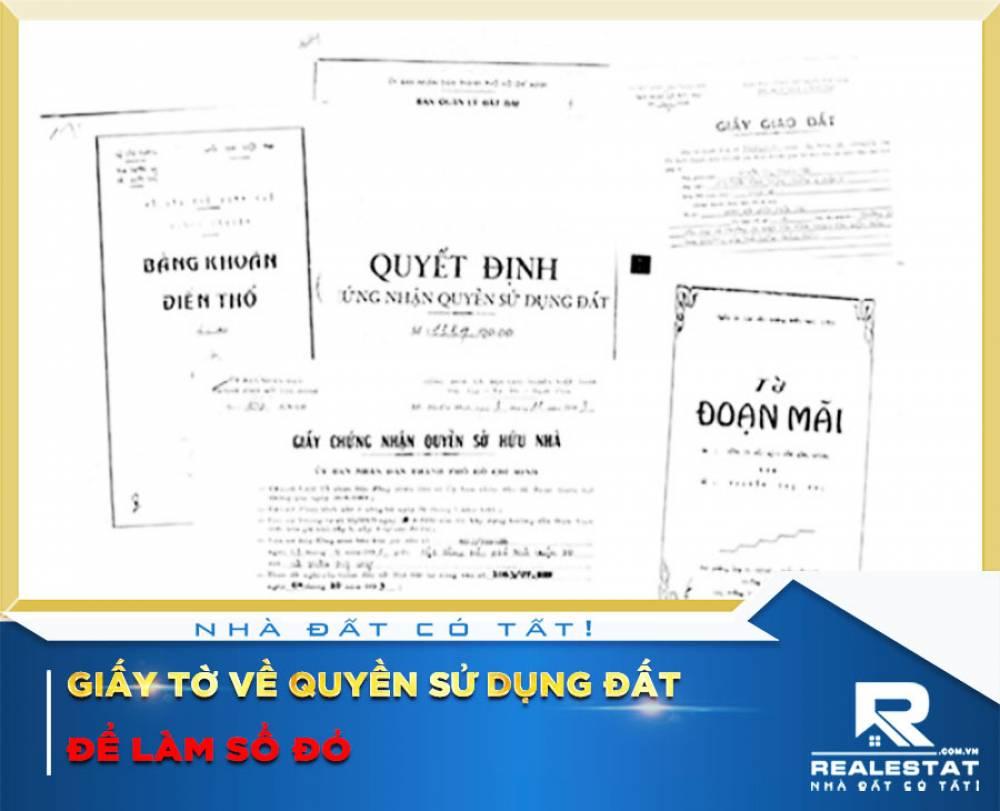 Giấy tờ về quyền sử dụng đất để làm Sổ đỏ